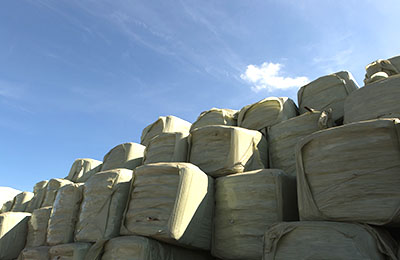 Rows of rdf bales at Dow's Cumbernauld headquarters